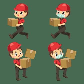 Liefermann, der uniform und kappe mit paketbox und umschlag in zeichentrickfigur trägt, isolierte flache illustration