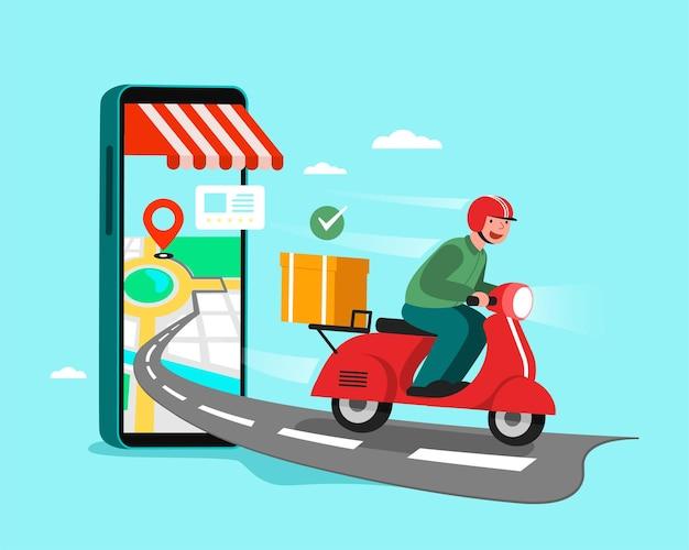 Lieferpersonal motorrad fahren, einkaufskonzept.
