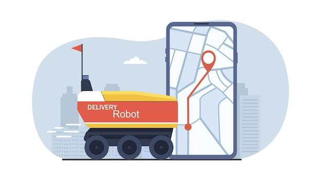 Lieferroboter sorgt für schnelle lieferung mit smartphone-app-anwendung. vektor-illustration.