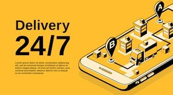 Lieferservice 24 7 Illustration der Logistik Versand Tracking-Technologie.