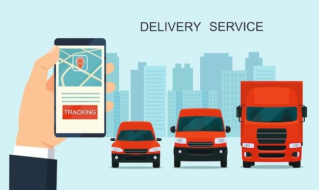 Lieferservice-app auf dem smartphone. transporter und lkw. verfolgung einer bestellung mit seinem smartphone.
