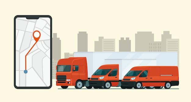 Lieferservice-app auf dem smartphone. transporter und lkw.