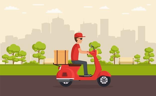 Lieferservice auf dem roller. junge liefert schnell und frei essen oder waren auf roller, der durch park auf hintergrundstadt fährt.