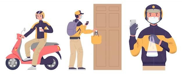 Lieferservice lebensmittel verwenden gesichtsmaske helm und motorrad