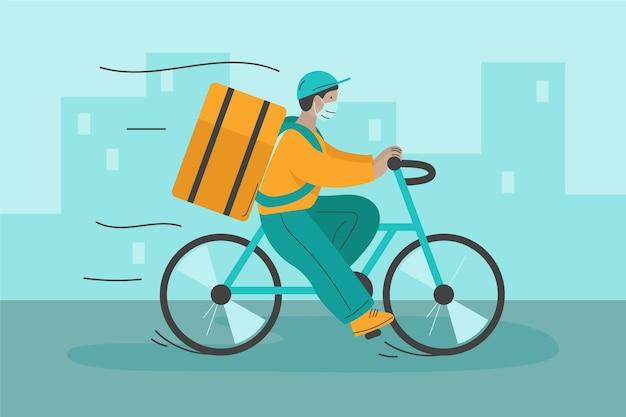 Lieferservice mit mann auf dem fahrrad
