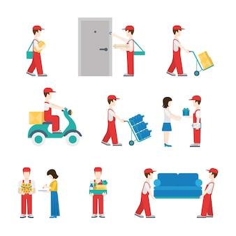 Lieferservice-mitarbeiter in bearbeitung Premium Vektoren