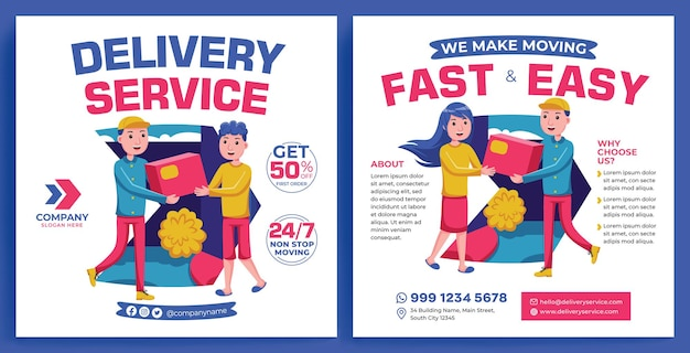 Lieferservice promotion feed instagram im flat design style
