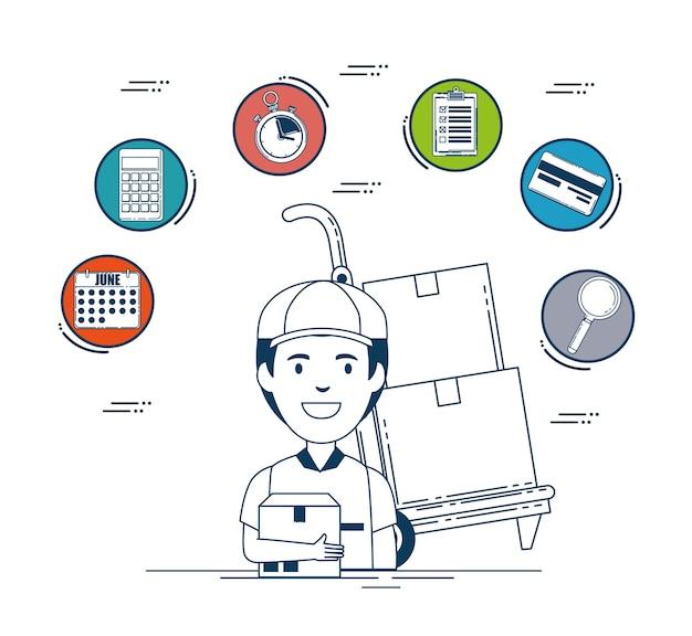 Lieferservice stellen ikonenvektor-illustrationsdesign ein