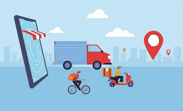Lieferservice, transport und logistik des digitalen einkaufs
