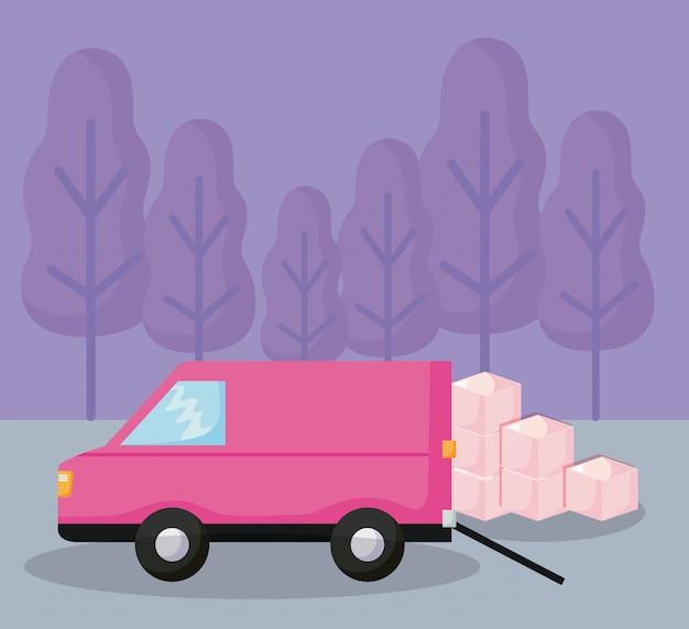 Lieferservice van auto mit kartons