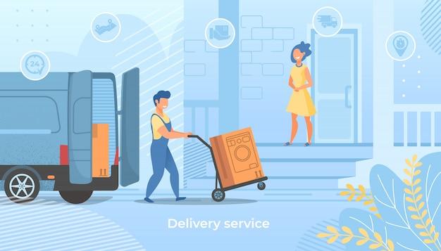 Lieferung arbeiter push trolley mit waschmaschine