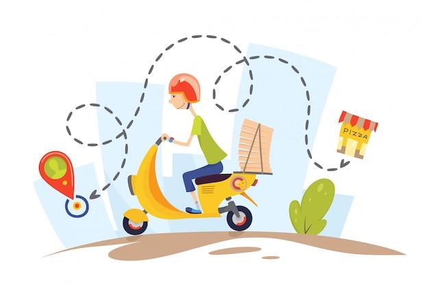 Lieferung, der typ auf dem moped trägt pizza