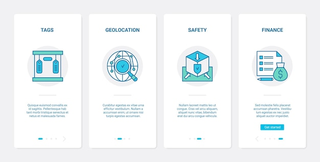 Lieferung finanzielles sicherheitslinienkonzept ux ui onboarding mobile app
