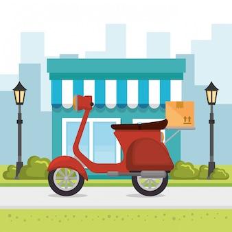 Lieferung im motorrad