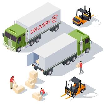 Lieferung isometrischer elemente des lieferservices mit lieferwagen, kisten und zustellern