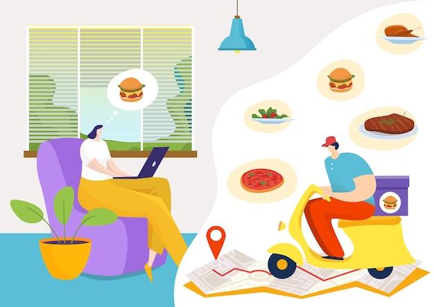 Lieferung online-app-service am laptop