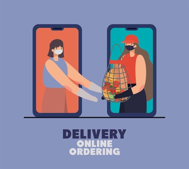 Lieferung online ordening schriftzug und frau mit sicherheitsmaske und einem netzbeutel voller marktprodukte