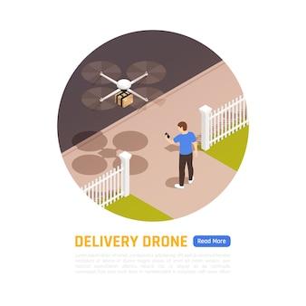 Lieferung per drohne. abbildung der quadcopter-lieferung eines pakets