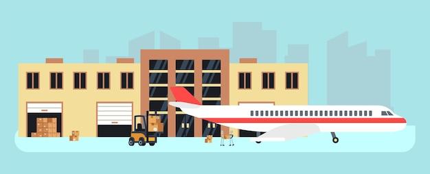 Lieferung per flugzeug. frachtflugzeug, laden für den transport. lager- oder flughafenlager, luftlogistikvektorillustration. lieferung von frachtflugzeugen, flugzeugtransportgeschäft