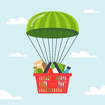 Lieferung von lebensmitteln an menschen mit dem fallschirm. illustration.