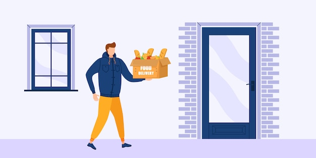 Lieferung von lebensmitteln nach hause, weil coronavirus, covid-19. online-lieferung food-service-konzept, online-auftragsverfolgung. kuriermänner mit einer kiste in den händen. illustration.