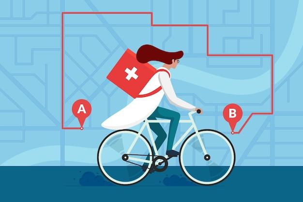 Lieferung von medikamentenapotheken. ärztin, die fahrrad mit medizinischer chirurgischer sanitärbox fährt, erste hilfe auf dem stadtplan und der navigationsroute. therapeut apotheker im zyklus trägt bestellvektor