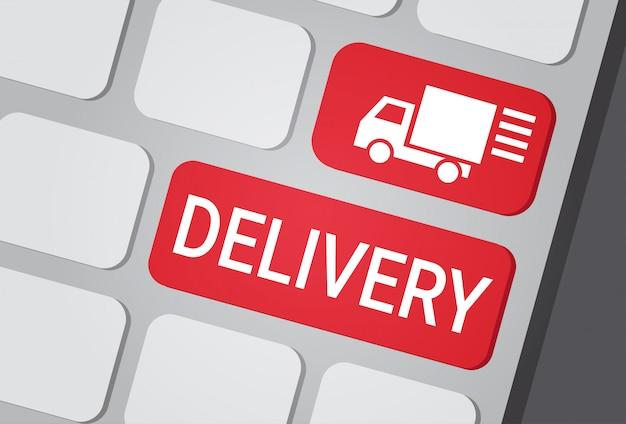 Lieferungs-knopf auf laptop-tastatur-schnellem kurier service express truck