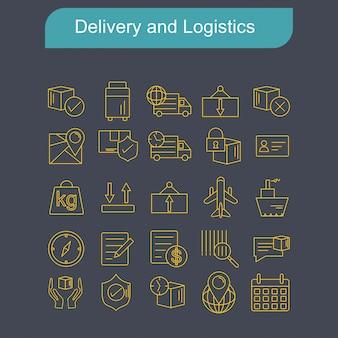 Lieferungs- und logistikikonen stellten vektor ein
