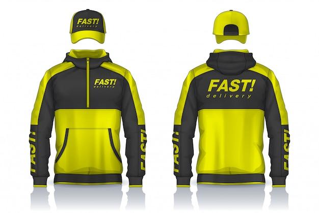 Lieferuniform, design von jacken- und mützenvorlagen, corporate work shirts.