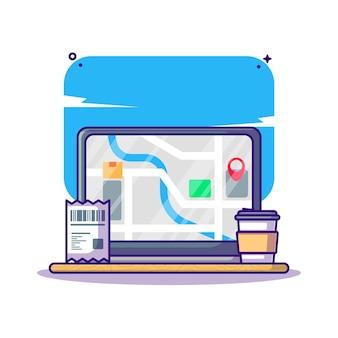 Lieferverfolgung service versand logistik cartoon illustration