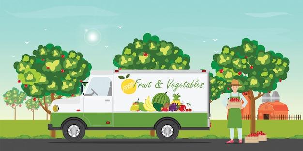 Lieferwagen für frisches obst mit den bauern