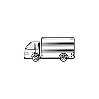 Lieferwagen hand gezeichnete umriss-doodle-symbol. schnelle lieferung, kurierzustellung und versandkonzept. vektorskizzenillustration für print, web, mobile und infografiken auf weißem hintergrund.