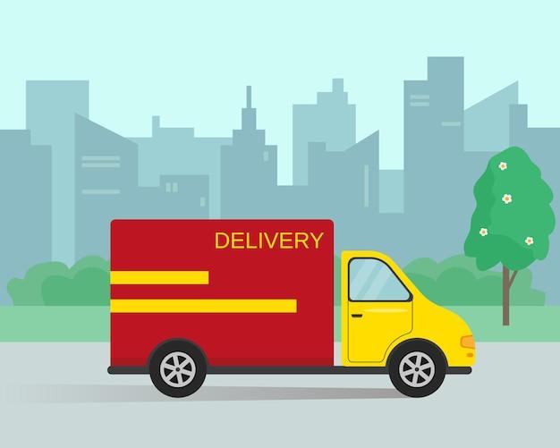 Lieferwagen in der stadt. schnelle lieferung oder umzugskonzept.