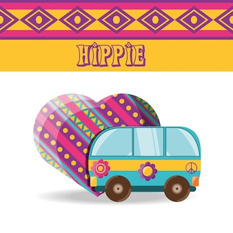 Lieferwagen mit blume hippie-konzept