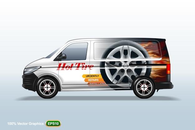 Lieferwagen vorlage. mit advertise, editierbarem layout.