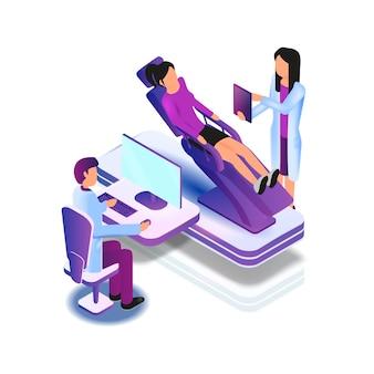 Liegende patientenstuhluntersuchung durch den arzt