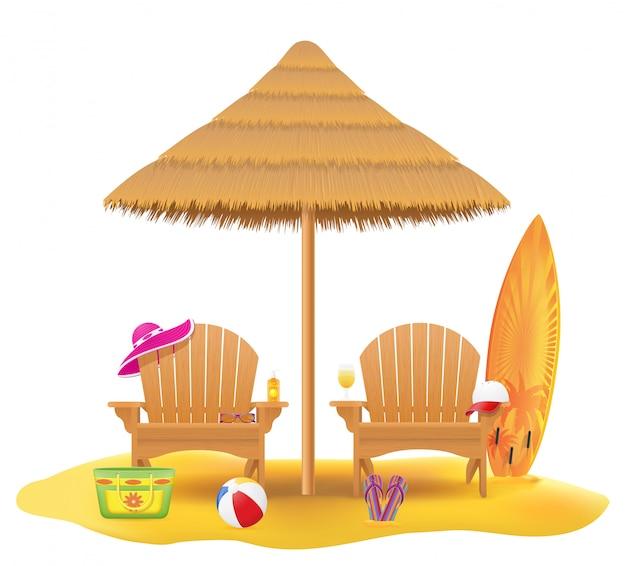 Liegestuhl liegestuhl aus holz und sonnenschirm aus stroh und schilf