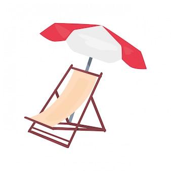 Liegestuhl mit sonnenschirm, sommerferien