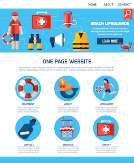 Life guard one page website-design