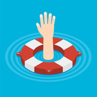 Lifebouy-symbol isometrisch mit der hand