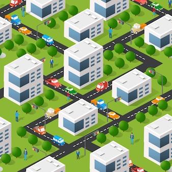 Lifestyle-szene urban isometrische 3d-darstellung eines stadtblocks mit häusern, straßen, menschen, autos. illustration für die design- und spieleindustrie.