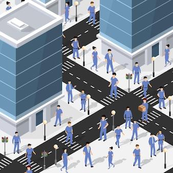 Lifestyle-szene urban isometrische 3d-darstellung eines stadtblocks mit häusern, straßen, menschen. illustration für die design- und spieleindustrie.