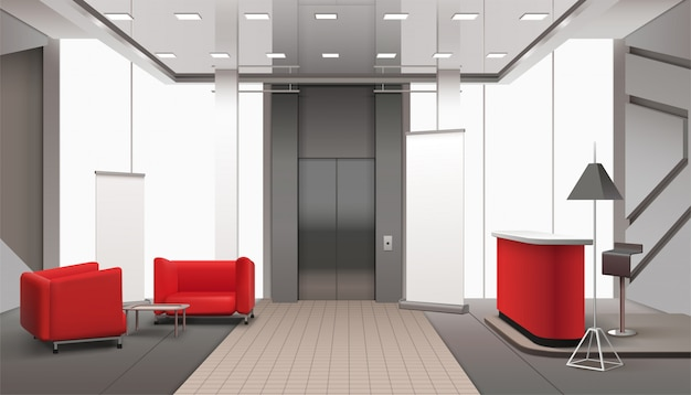 Lift lobby realistisches interieur
