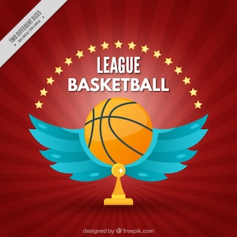 Liga basketball hintergrund mit flügeln der ball