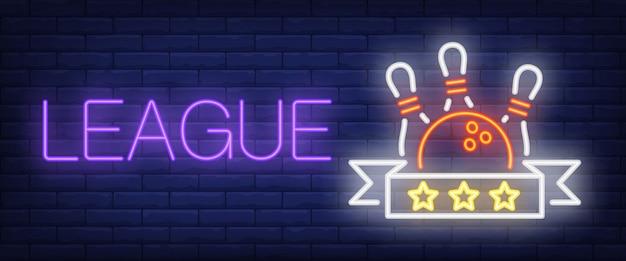 Liga-neon-text mit ball und kegel