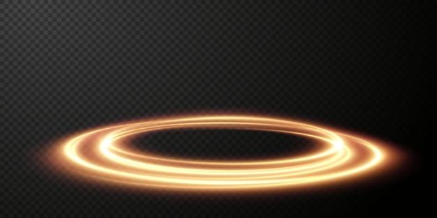 Light golden twirl curve lichteffekt der goldenen linie leuchtender goldener kreis light goldener sockel