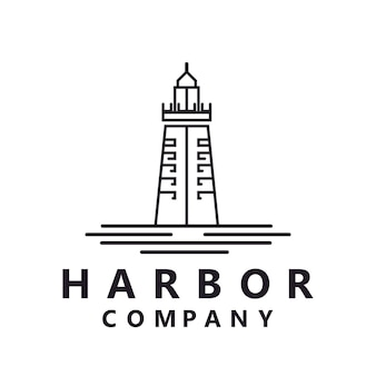 Lighthouse searchlight beacon tower island beach coast simple line art logo design inspiration