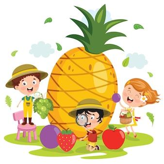 Liitle kind und cartoon-frucht