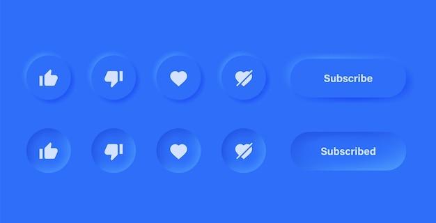 Like abneigung liebe unlove-symbol in blauen neumorphismus-buttons mit abonnieren- und benachrichtigungssymbolen