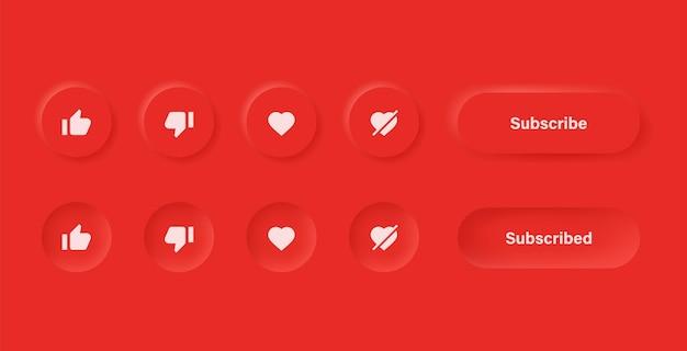 Like abneigung liebe unlove-symbol in roten neumorphismus-buttons mit abonnieren- und benachrichtigungssymbolen